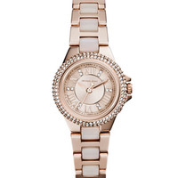 Michael Kors Petite Rose Golden Stainless Steel Camille Three-Hand Glitz Watch