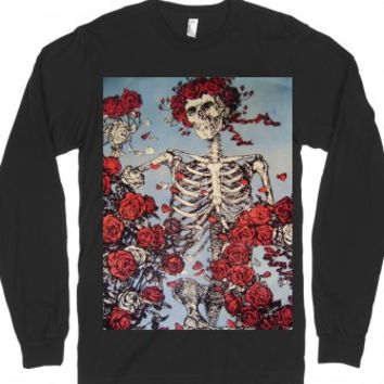 Skeleton Roses-Unisex Black T-Shirt