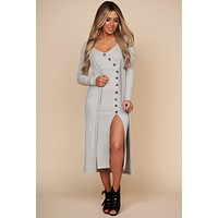 Take Your Pick Open Front Duster Cardigan (Heather Grey)