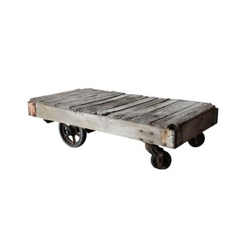 Pre-owned Antique Industrial Railroad Cart Coffee Table