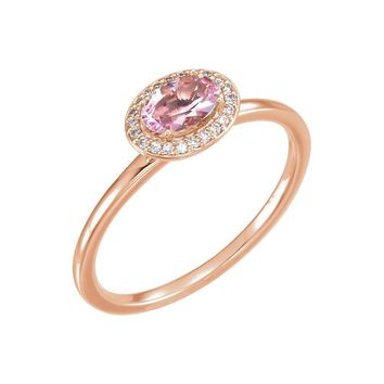 14K White Morganite & .05 CTW Diamond Ring