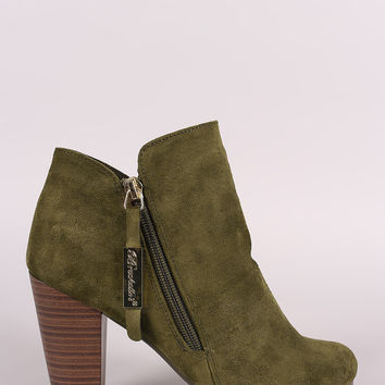 Breckelle Suede Zip Up Chunky Heeled Booties
