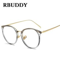 RBUDDY Computer glasses Clear Lens Metal Frame Round Fake glasses women Men Gold Tranparent Frame Retro Optical Eyeglasses 2017