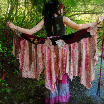 RESERVED  Scrap Wrap, Gypsy Skirt, Pixie Skirt, Hippie Skirt, Festival Clothing