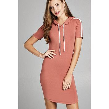 Ladies fashion short sleeve w/side stripe drawstring hoodie cotton rayon spandex mini dress