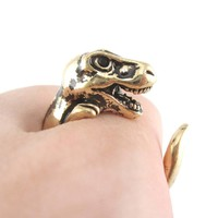 Dinosaur T-Rex Prehistoric Animal Wrap Ring in Shiny Gold | US Size 4 to 9