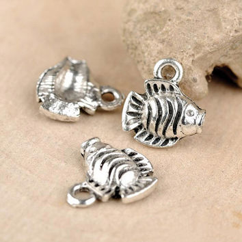 30pcs 13x12mm Antique Silver Small Fish Metal Accessory Charms Pendant Bracelet Necklace Making Jewelry Findings Supplies JM 0392