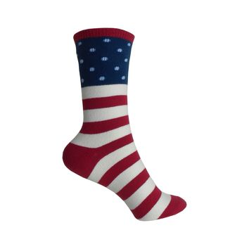 American Flag Boot Sock Crew Socks in Red, White, and Blue