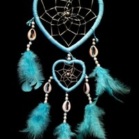 Heart-shaped Dream Catcher with Feathers Car or Wall Hanging -2hlb (With a Betterdecor Pounch)