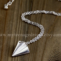 paper airplane Necklace, One Direction harry style Necklace, silver paper airplane charm