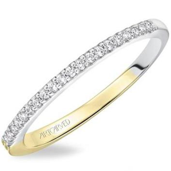 """Artcarved """"Lancy"""" Two-Tone White and Yellow Gold Diamond Wedding Band"""