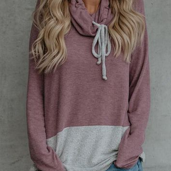 Pink Patchwork Drawstring Cowl Neck Long Sleeve Pullover Sweater