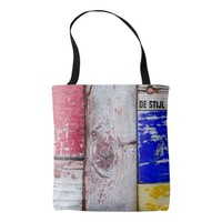 Neoplasticism style wooden art funny unique tote bag