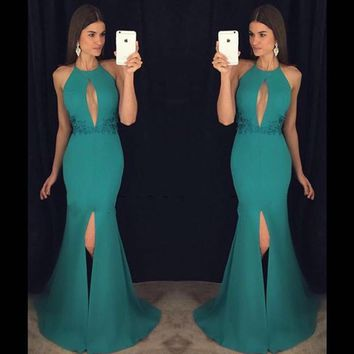 Halter 2016 New Pretty Sexy Summer Teal Beaded Applique Chiffon Mermaid Prom Dresses Long Evening Party Dress vestido de festa