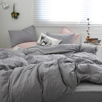 Natural Gray Colored Naturally Wrinkled Soft Twin / Queen Size Bedding Set