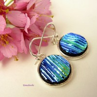 Fantastic Metallic Blue Ribbed Dichroic Glass Handmade Earrings