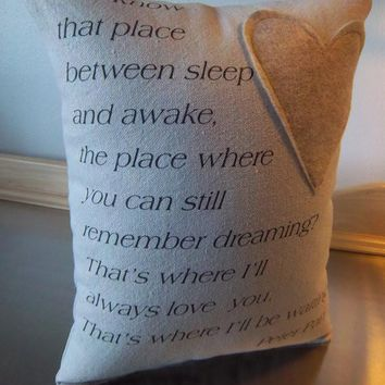 Peter Pan quote pillows long distance gift canvas throw pillows
