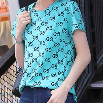 GUCCI 2018 spring new tide cotton female letter printing round neck short sleeve Lake Blue