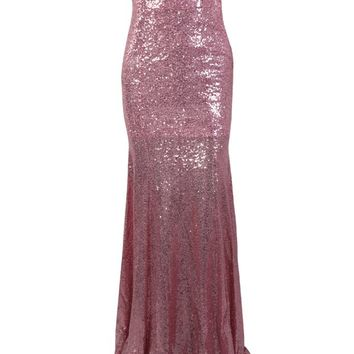 Honey Couture LEILA Pink Sequin Off Shoulder Evening Gown Dress