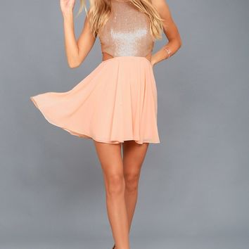 Life Illuminated Matte Rose Gold Sequin Cutout Skater Dress