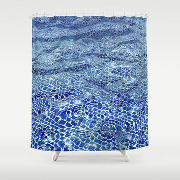 Blue Water fabric Shower curtain -  Blue mosaic tile ocean, waves, island, beach, pool, calm waters, coastal, decor, bath, home