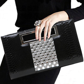 New Alligator Diamond-studded Evening Bag Women's PU leather Banquet Handbag Day Clutch Female 10 Color Long Chain Shoulder Bag