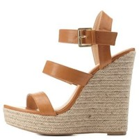 Cognac Three Band Espadrille Wedge Sandals by Charlotte Russe
