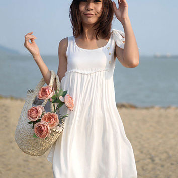 White Sleeeveless Ribbon Strap Yoke Mini Dress