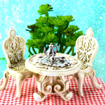 Miniature Table and Chairs Set ~ Silver Tea/Coffee Service Tray ~ Blue and White China cups ~ Fairy Garden Miniatures ~ Options at checkout