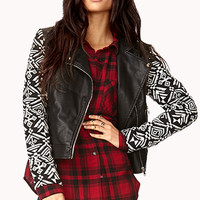 Remixed Faux Leather Jacket