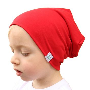 solid 15 color plus size for baby 1-10 years children hats spring summer autumn boys girls caps kids cotton beanies wear wraps
