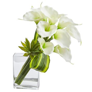 Silk Flowers -20 Inch White Calla Lily And Succulent Bouquet Arrangement
