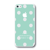 iPhone 5 Case, iPhone 5S Case - Green Mint / Gray Polka Dots / iPhone 5S Case, iPhone 5S Cover, Cover for iPhone 5S, Case for iPhone 5S
