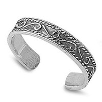 Adjustable Size Toe Ring Solid 925 Sterling Silver Antique Bali Design Swirl Toe Ring (3mm)