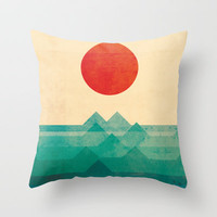 The ocean, the sea, the wave Throw Pillow by Budi Satria Kwan