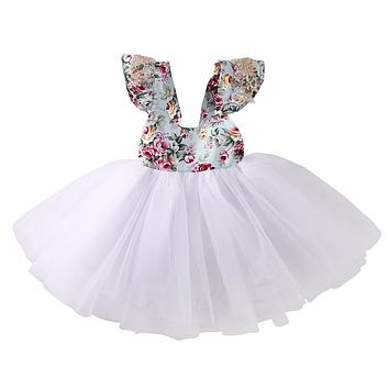 2 color Flower Girls Kids Baby Fly Sleeve Lace Floral Dress Party Formal Dresses Sundress