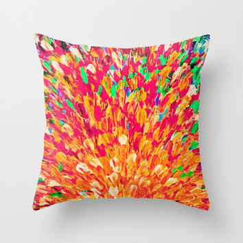 NEON SPLASH Decorative Throw Pillow Cover 18 x 18 WOW Intense Dash of Cheerful Color, Bold Water Waves Nature Lovers Modern Abstract