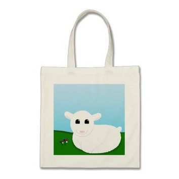 Sweet Smiling Lamb Drawing Tote Bag
