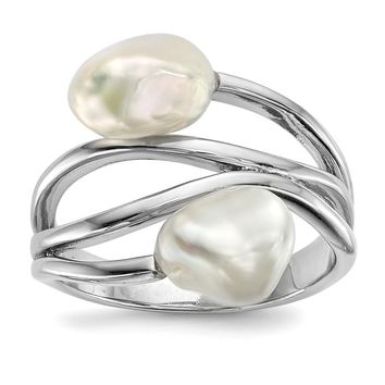 925 Sterling Silver Rhodium 7-8mm White Baroque Freshwater Cultured Pearl Ring