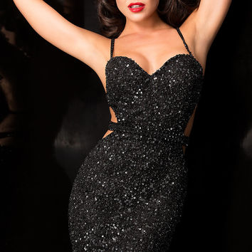 Sweetheart Open Back Sequin Dress by Scala