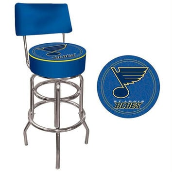 NHL St. Louis Blues Padded Bar Stool with Back