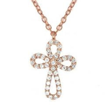 Sterling Silver Rose Gold Plated Rounded Cross Necklace