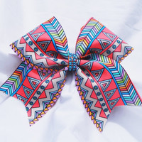 Cheer bow-  orange Aztec print bow- cheerleading bow- cheer bow- soft ball bow- dance bow- cheerbow
