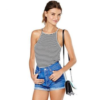Sexy Summer Stylish Bralette Hot Comfortable Beach Stripes Spaghetti Strap Slim Vest [4920529220]