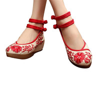 Mary Jane Chinese Shoes in Beautiful Red Embroidery & Ankle Straps with Floral Patterns