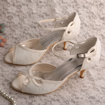 Wedopus Women's Peep Toe Buckle Cone Heel Lace Bridal Evening Court Shoes Ivory