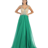 Green & Nude Open Back Gown  2015 Prom Dresses