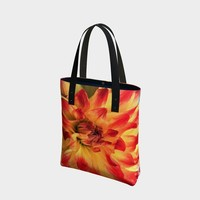 Red And Yellow Tropical Flower Tote Bag * Dahlia Flower Tote Bag * Bridesmaids Tote Bag * Wedding Tote * Beach Tote * Vacation Tote