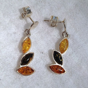Amber Sterling Earrings Silver 925 Fossils Baltic Russian Genuine Southwestern Jewelry Gift Bridal Vintage Modern Tribal Huge Big Dangling