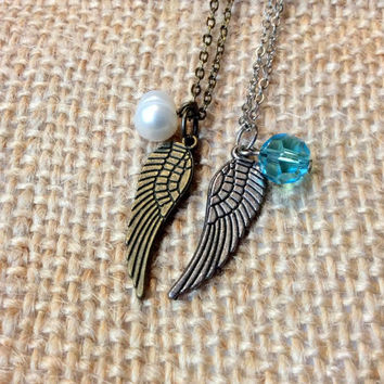 Wing & Birthstone Necklace: wing charm with birthstone bead